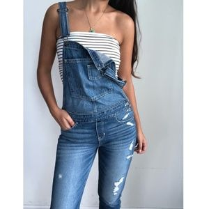 Hollister Devin boyfriend distressed overalls S